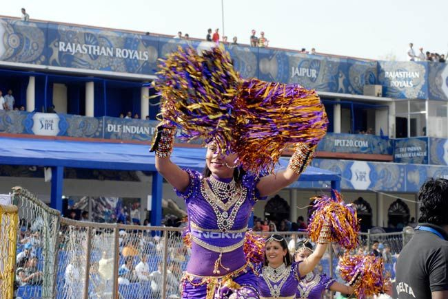 A cheerleader performs ahead of RR vs KKR clash in Jaipur