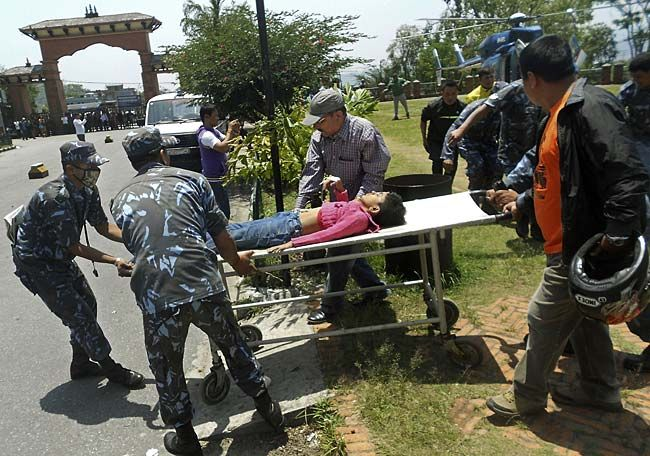 Site of the plane crash in Nepal