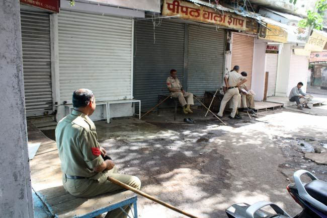 Police officials on duty in Bhopal