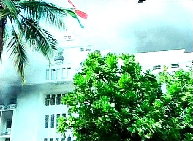 TV grab of the building under fire in Mumbai