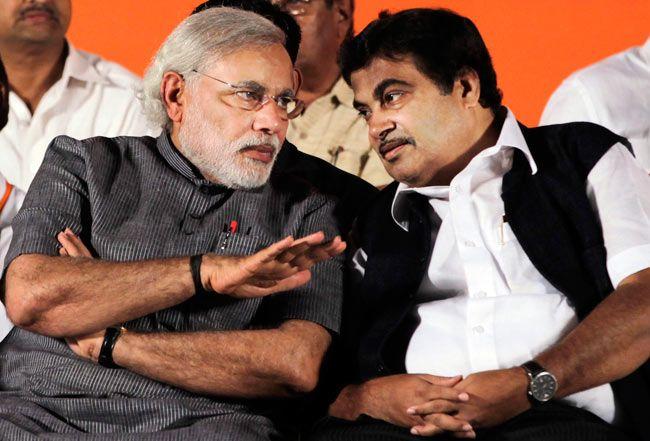 Nitin Gadkari with Narendra Modi