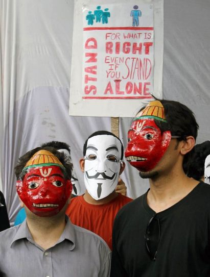 Supporters of Anonymous India protest against the web censorship.