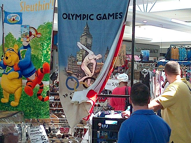 Fake Olympic merchandise for sale in London