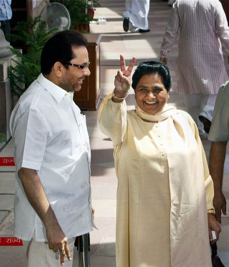 Mukhtar Abbas Naqvi (left) and Mayawati