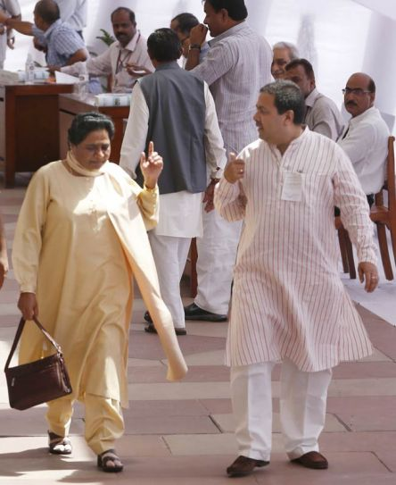 Mayawati and Rajeev Shukla