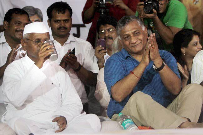 Anna Hazare with VK Singh