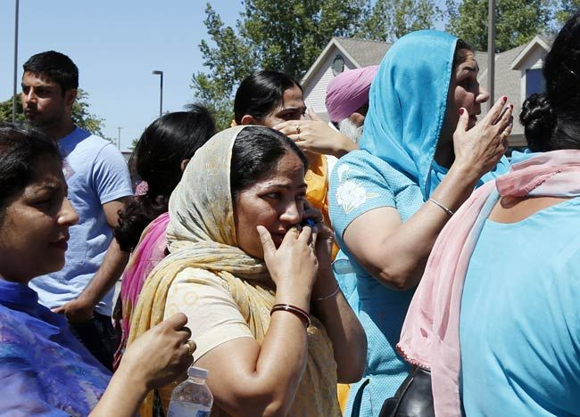 Family members of the people inside the Gurdwara