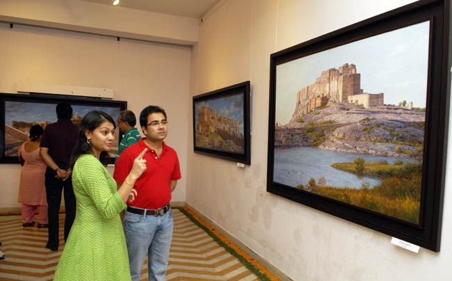 Art lovers at exhibition