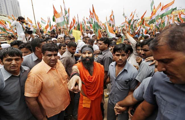 Baba Ramdev with his supporters