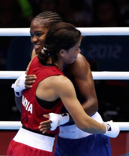 MC Mary Kom (in red) and Nicola Adams