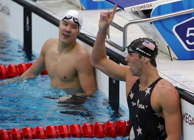 Michael Phelps and Park Tae-hwan