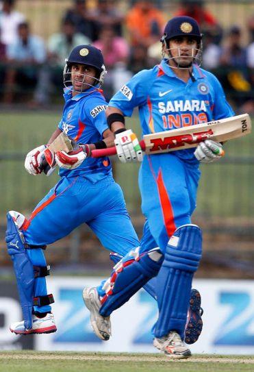 India's batsman Gautam Gambhir, right