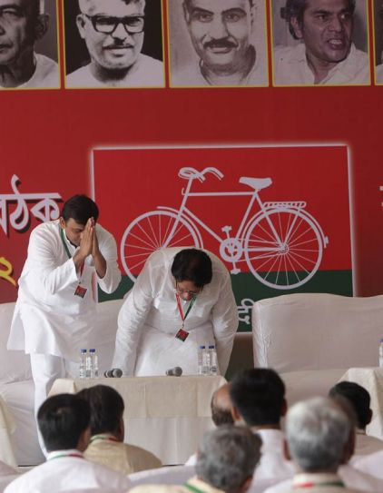 Akhilesh Yadav with Samajwadi Party member