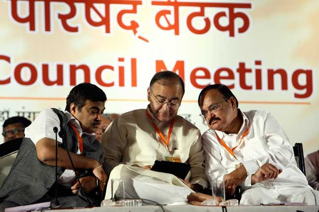 (From left) Nitin Gadkari, Arun Jaitley and Venkaiah Naidu