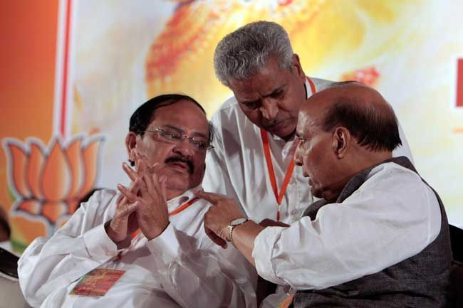 Venkaiah Naidu (left) and Rajnath Singh