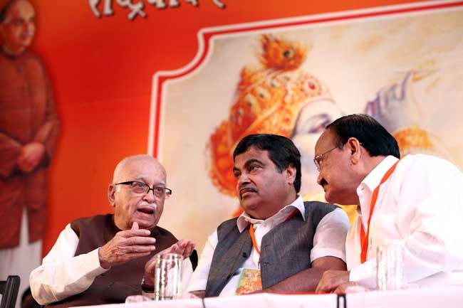 (From left) LK ADvani, Nitin Gadkari and Venkaiah Naidu