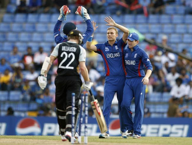 Danny Briggs (second right) celebrates the dismissal of New Zealand's Kane Williamson