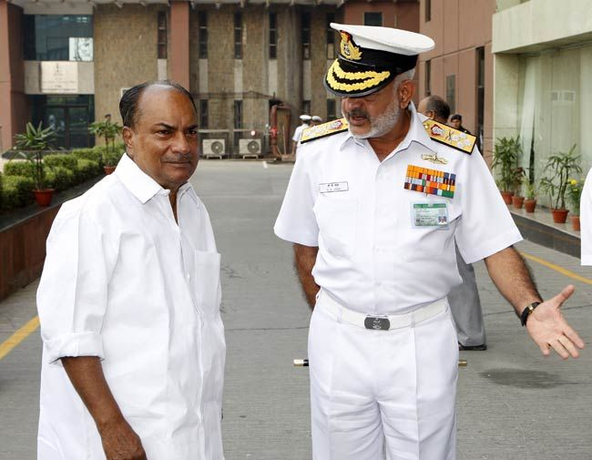 Defence Minister A.K. Antony with Chief of Naval Staff Admiral D.K. Joshi