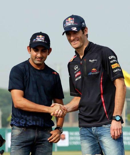 Indian cricketer Gautam Gambhir and Red Bull Formula One driver Mark Webber