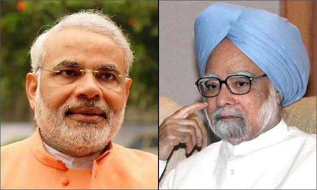 Narendra Modi (left) with Manmohan Singh