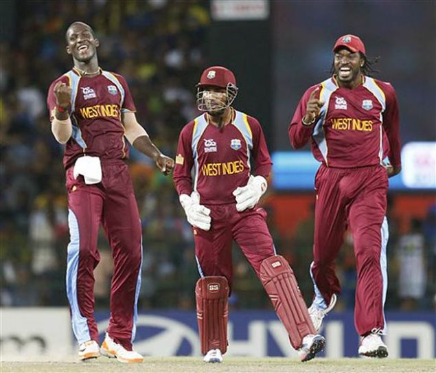 Darren Sammy, Denesh Ramdin and Chris Gayle