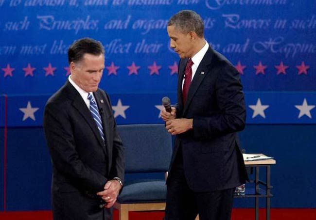 President Barack Obama (right) and Republican challenger Mitt Romney