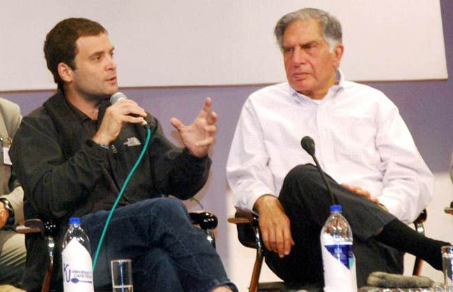 Rahul Gandhi (left)and Ratan Tata