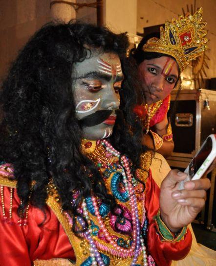 Ramlila artist in the role of demon king Ravana.