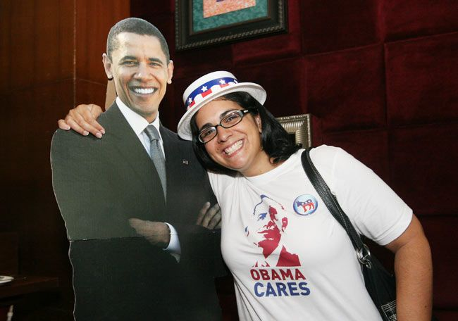 US presidential polls: People celebrate Barack Obama's victory at the US consulate in Mumbai