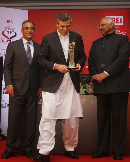 Aroon Purie, Omar Abdullah and Sharad Pawar