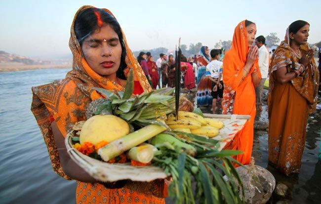Devotees perform rituals during Chhat Puja