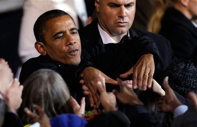 Barack Obama greets supporters