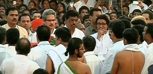 Bal Thackeray's funeral pyre