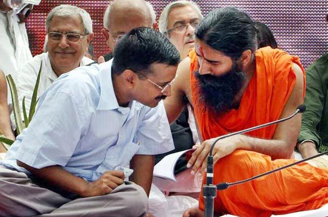 Arvind Kejriwal (left)and Baba Ramdev