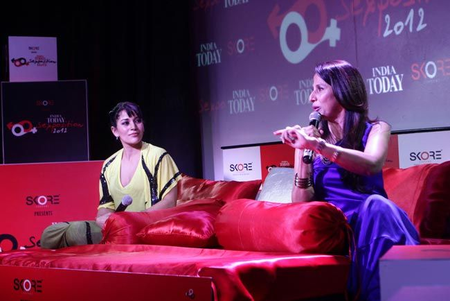 Koel Purie (left) with Shobhaa De (right)