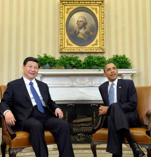 (Left) Xi Jinping and Barack Obama