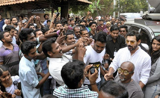 Bollywood actor John Abraham surrounded by fans