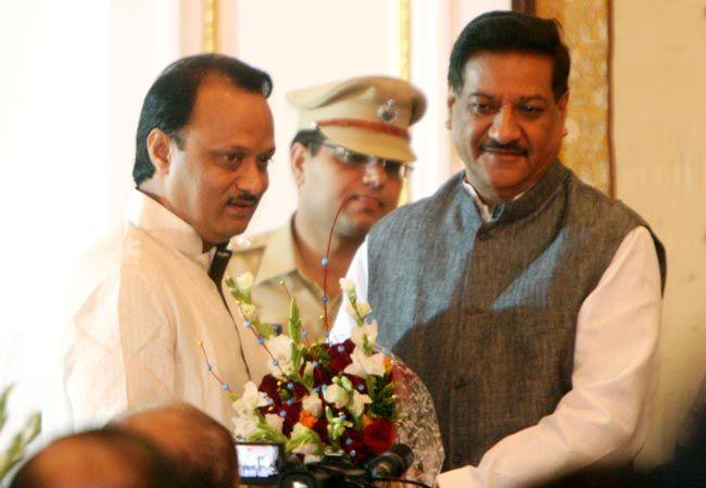 Ajit Pawar (left), Prithviraj Chavan