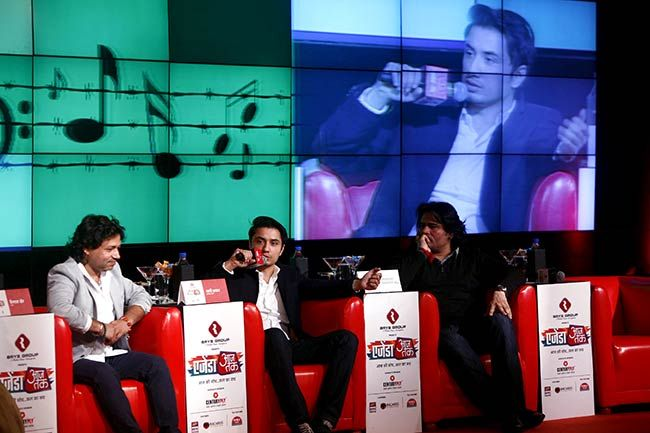 Kailash Kher, Pakistani singers Ali Zafar and Shafqat Amanat Ali at Agenda Aaj Tak 2012.