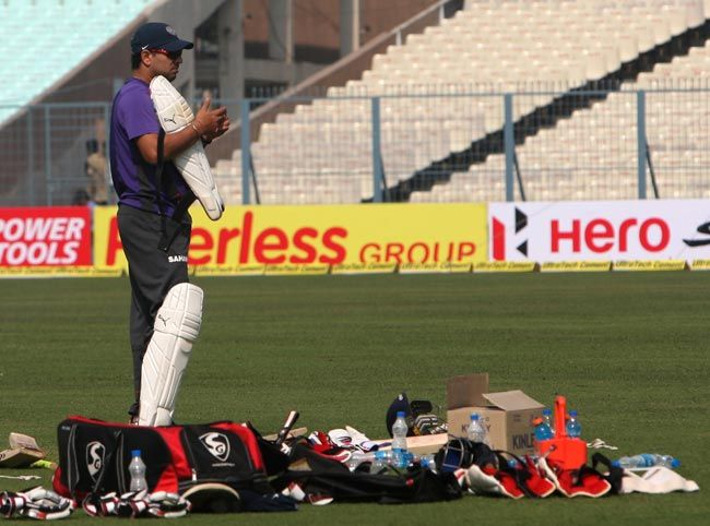 Yuvraj Singh during the training session at the Eden Gardens