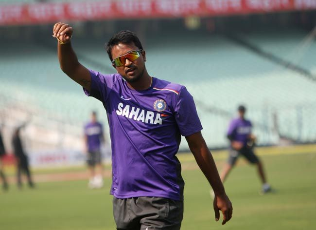Pragyan Ojha uring the training session at the Eden Gardens
