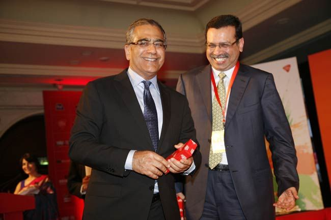 Aroon Purie and Sanjiv Goenka
