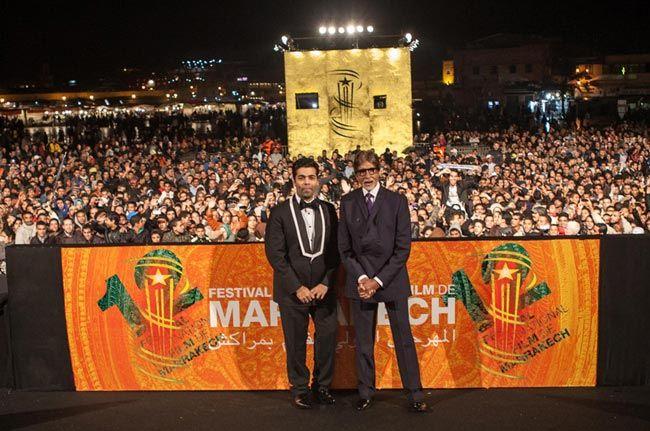 Karan Johar (left) with superstar Amitabh Bachchan