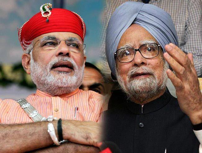 Narendra Modi (left) Manmohan Singh