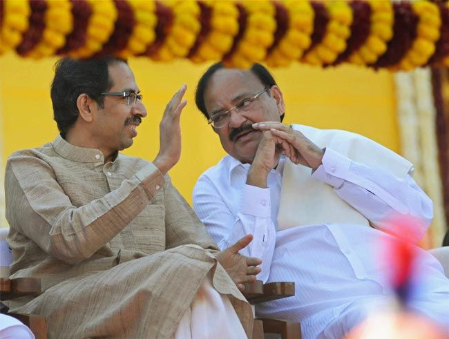 Uddhav Thackeray (left) and Venkaiah Naidu
