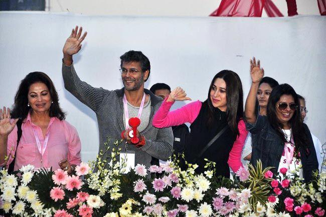 Karisma Kapoor, Milind Soman at Pinkathon 2012.