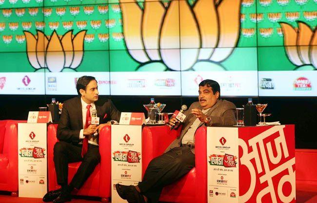 Rahul Kanwal and Nitin Gadkari at Agenda Aaj Tak 2012