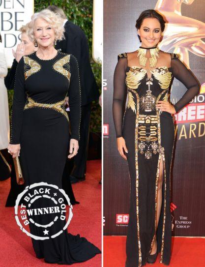 Helen Mirren at the Golden Globe Awards versus Sonakshi Sinha at Colors Screen Awards