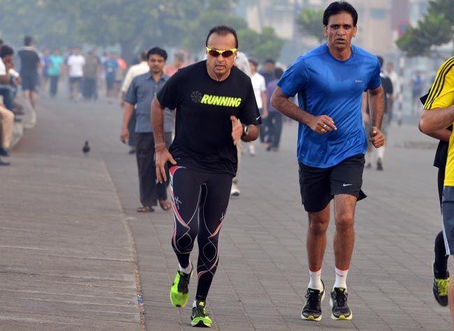 Anil Ambani with his trainer