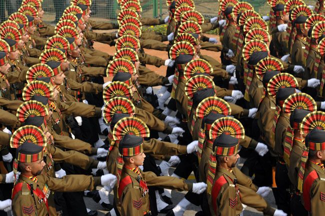 Soldiers, Republic Day final full dress rehearsal, New Delhi